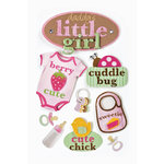 Paper House Productions - Baby Girl Collection - 3 Dimensional Cardstock Stickers with Bling Flocked and Glossy Accents - Little Girl