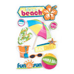 Paper House Productions - Fun Beach Collection - 3 Dimensional Cardstock Stickers with Bling Epoxy Glitter and Glossy Accents - Life's A Beach