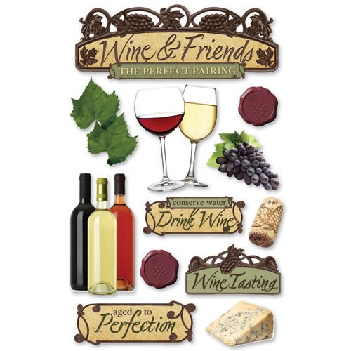 Paper House Productions - Wine Country Collection - 3 Dimensional Cardstock Stickers - Wine