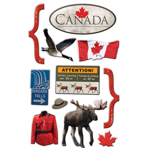 Paper House Productions - Canada Collection - 3 Dimensional Chipboard Stickers - Canada