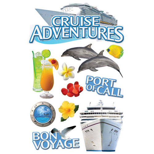 Paper House Productions - Cruise Collection - 3 Dimensional Cardstock Stickers - Cruise