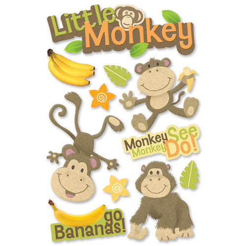 Paper House Productions - 3 Dimensional Cardstock Stickers - Little Monkey