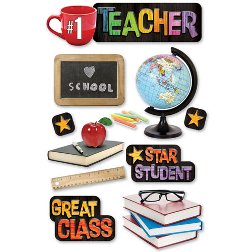 Paper House Productions - School Collection - 3 Dimensional Cardstock Stickers - Teacher