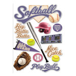 Paper House Productions - Softball Collection - 3 Dimensional Cardstock Stickers - Softball