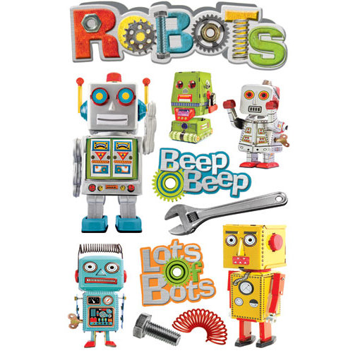 Paper House Productions - Robots Collection - 3 Dimensional Cardstock Stickers - Robots