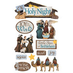Paper House Productions - Christmas - 3 Dimensional Cardstock Stickers with Glitter Accents - Holy Night