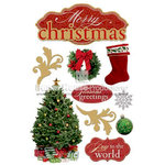 Paper House Productions - Christmas - 3 Dimensional Cardstock Stickers with Foil Gem and Glitter Accents - Merry Christmas