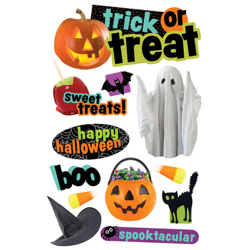 Paper House Productions - Halloween - 3 Dimensional Cardstock Stickers - Trick or Treat