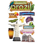 Paper House Productions - 3 Dimensional Cardstock Stickers with Glitter and Jewel Accents - Brazil