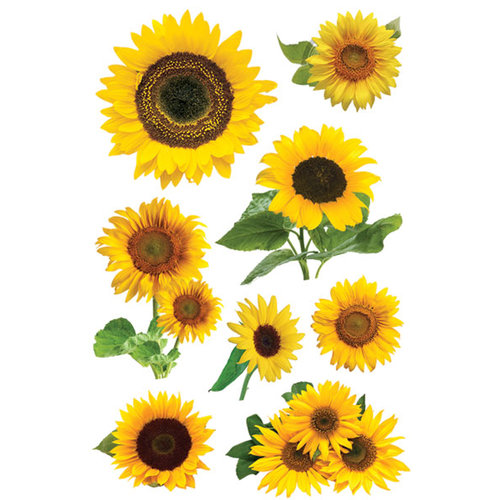 Paper House Productions - Gardening Collection - 3 Dimensional Cardstock Stickers - Sunflowers
