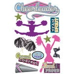 Paper House Productions - 3 Dimensional Cardstock Stickers with Glitter Accents - Cheerleader