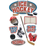 Paper House Productions - 3 Dimensional Cardstock Stickers with Foil Accents - Ice Hockey