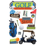 Paper House Productions - 3 Dimensional Cardstock Stickers with Foil and Glossy Accents - Golf