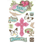 Paper House Productions - 3 Dimensional Cardstock Stickers with Glitter and Jewel Accents - He Loves Me
