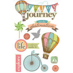 Paper House Productions - 3 Dimensional Cardstock Stickers with Glitter and Jewel Accents - Enjoy the Journey