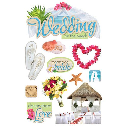 Paper House Productions - 3 Dimensional Cardstock Stickers with Glitter and Jewel Accents - Beach Wedding