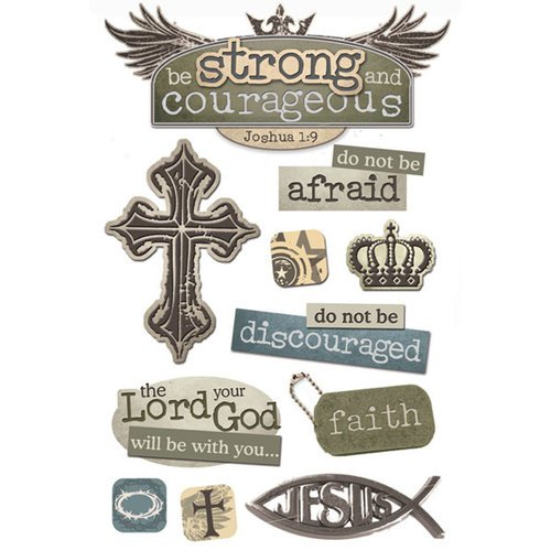 Paper House Productions - 3 Dimensional Cardstock Stickers with Foil and Glossy Accents - Strong and Courageous