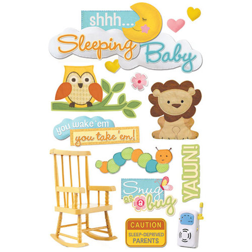 Paper House Productions - 3 Dimensional Cardstock Stickers with Flocked and Glitter Accents - Sleeping Baby