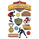Paper House Productions - 3 Dimensional Stickers with Foil Accents - Wrestling
