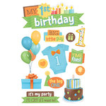 Paper House Productions - 3 Dimensional Stickers with Glitter and Epoxy Accents - 1st Birthday - Boy