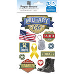 Paper House Productions - 3 Dimensional Stickers with Foil Accents - Military Life