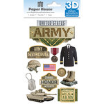 Paper House Productions - 3 Dimensional Stickers with Foil Accents- Army