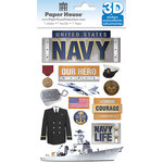 Paper House Productions - 3 Dimensional Stickers with Foil Accents - Navy