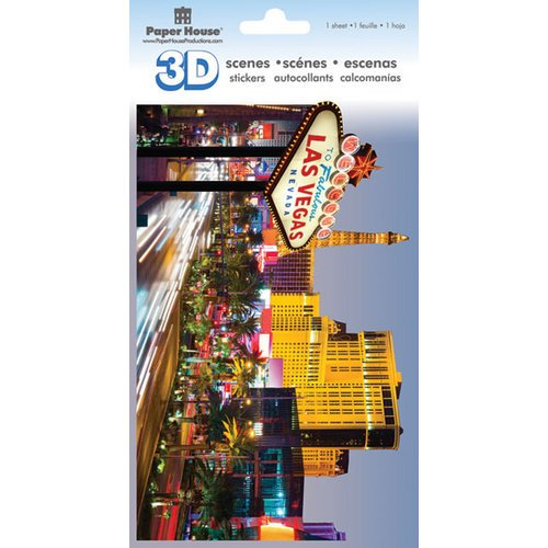 Paper House Productions - 3D Scenes - 3 Dimensional Cardstock Stickers with Glitter Accents - Las Vegas