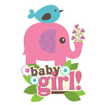 Paper House Productions - 3 Dimensional Stickers with Glitter Accents - Baby Girl Scene