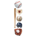 Paper House Productions - Baseball Collection - 3 Dimensional Cardstock Stickers - Baseball