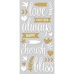 Paper House Productions - Wedding Day Collection - Sculpted - Puffy Stickers - Love