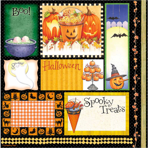 PJK Designs - Cookbookin' - Halloween Goodies Collection - 12 x 12 Paper - Halloween Carvings, CLEARANCE