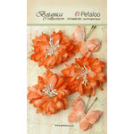 Petaloo - Botanica Collection - Floral Embellishments - Mums and Butterflies -Peach