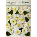 Petaloo - Botanica Collection - Floral Embellishments - Velvet Pansies - White