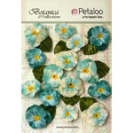 Petaloo - Botanica Collection - Floral Embellishments - Velvet Pansies - Teal