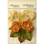 Petaloo - Botanica Collection - Floral Embellishments - Sugared Blooms - Gold and Sienna