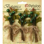 Petaloo - Botanica Collection - Floral Embellishments - Sugared Berry Clusters - Green