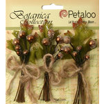 Petaloo - Botanica Collection - Floral Embellishments - Sugared Berry Clusters - Brown