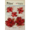 Petaloo - Textured Elements Collection - Floral Embellishments - Jeweled Flowers - Red