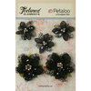 Petaloo - Textured Elements Collection - Floral Embellishments - Jeweled Flowers - Black