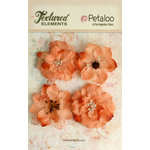 Petaloo - Textured Elements Collection - Floral Embellishments - Burlap Blossoms - Apricot