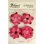 Petaloo - Textured Elements Collection - Floral Embellishments - Burlap Blossoms - Fuchsia