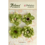 Petaloo - Textured Elements Collection - Floral Embellishments - Burlap Blossoms - Pistachio
