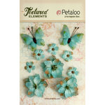 Petaloo - Textured Elements Collection - Floral Embellishments - Burlap Blossoms and Butterflies - Teal