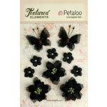 Petaloo - Textured Elements Collection - Floral Embellishments - Burlap Blossoms and Butterflies - Black