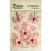 Petaloo - Textured Elements Collection - Floral Embellishments - Burlap Blossoms and Butterflies - Pink