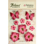 Petaloo - Textured Elements Collection - Floral Embellishments - Burlap Blossoms and Butterflies - Fuchsia
