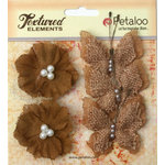 Petaloo - Burlap and Canvas Collection - Floral Embellishments - Burlap Butterflies and Blossoms - Natural