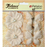 Petaloo - Burlap and Canvas Collection - Floral Embellishments - Burlap Butterflies and Blossoms - Ivory