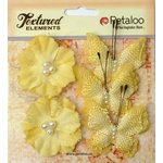 Petaloo - Burlap and Canvas Collection - Floral Embellishments - Burlap Butterflies and Blossoms - Yellow